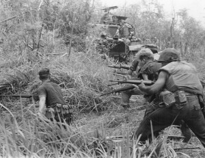 Marines with Company G, 2d Battalion, 7th Marines, direct a concentration of fire at the enemy during Operation Allen Brook, 8 May 1968. (Official Marine Corps Photo # 371490).